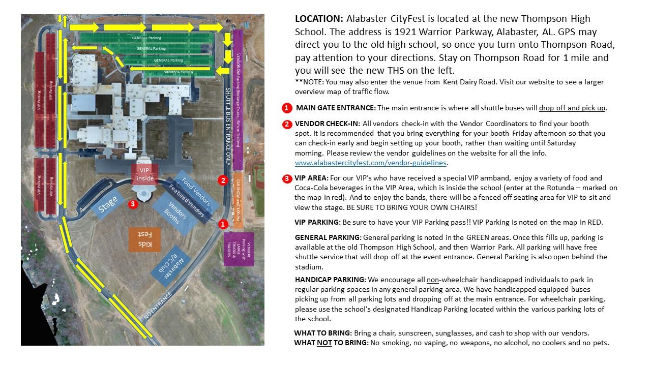 Alabaster CityFest Visitor Map and Traffic Flow